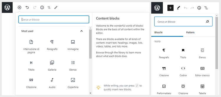 Novità di WordPress 5.5: nuova disposizione della lista dei blocchi disponibili.
